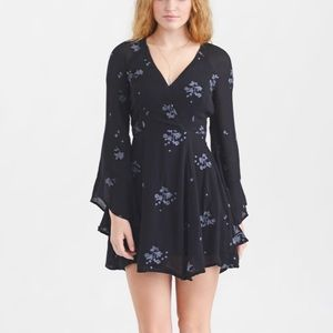free people jasmine ember dress navy bell sleeve